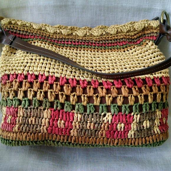St. John's Bay Handbags - St. John's Bay  Straw & Leather  Handbag